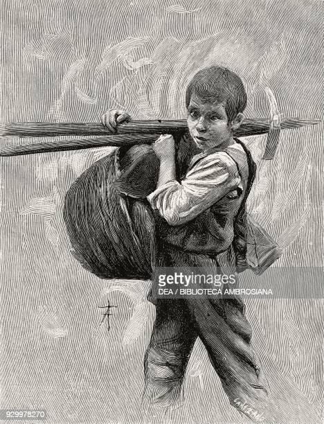 Young farmer illustration by Arnaldo Ferraguti from the novella Rosso Malpelo by Giovanni Verga from L'Illustrazione Italiana Year XXIII No 51...