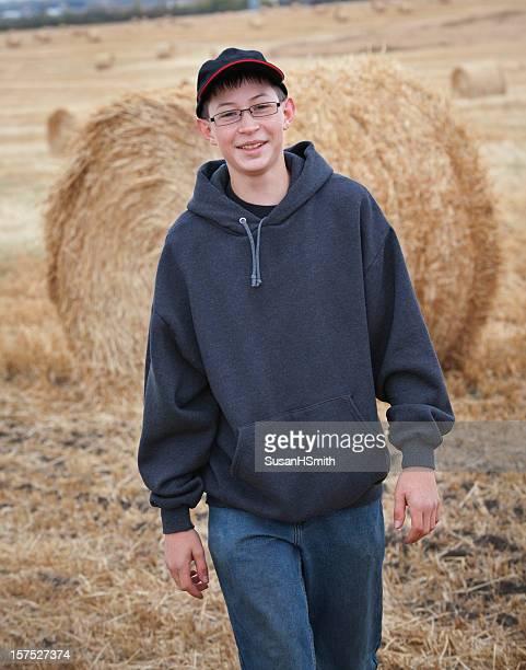 Young farmer walking