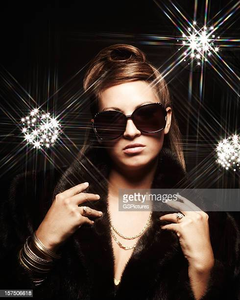 young fashion model and glittering lights - celebrity fake photos stock pictures, royalty-free photos & images