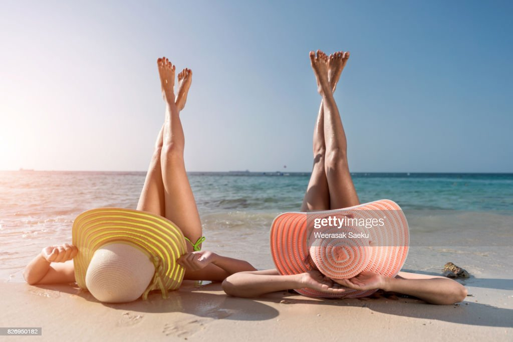 Young fashion woman relax on the beach. : Stock Photo