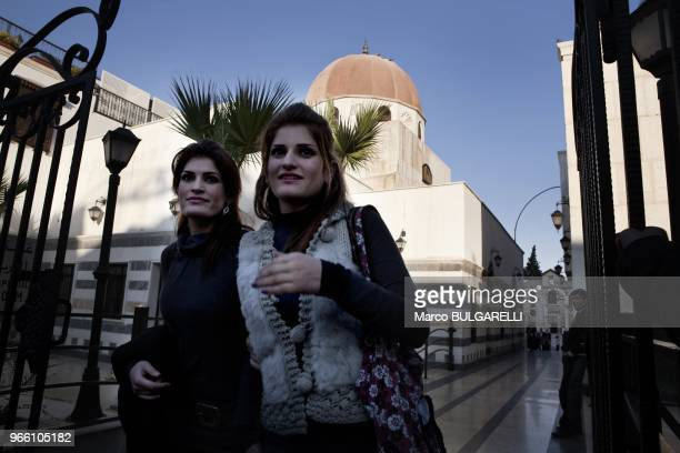 young fashionable women at the entrance of Saladin mausoleum Saladin was leader of the Muslim forces who recaptured Jerusalem from the Crusaders He...