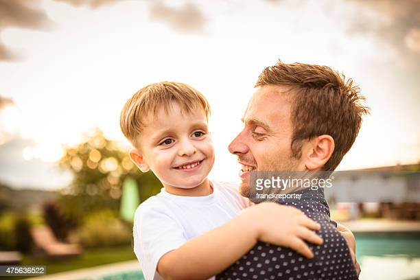 Young father have fun with the little child