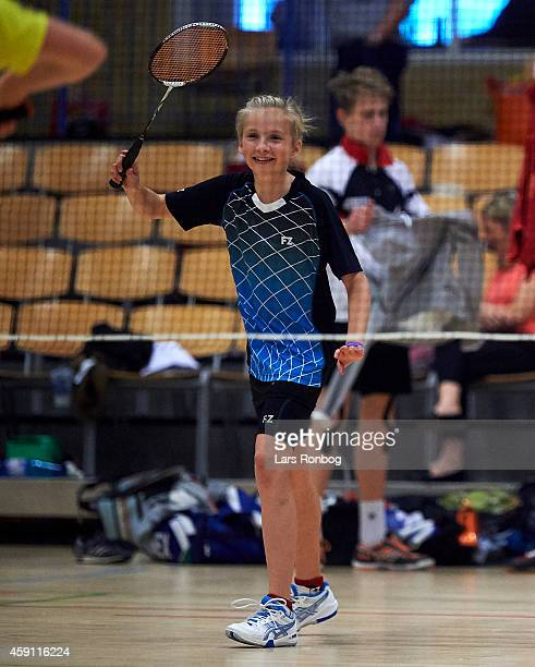 A young female badminton player in action during the Yonex Denmark Junior Youth Badminton Tournament in Paarup Hallen on October 17 2014 in Paarup...