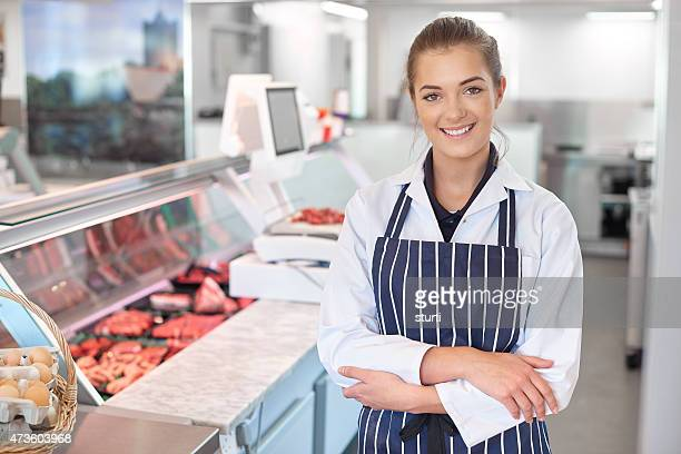 young female butcher portrait
