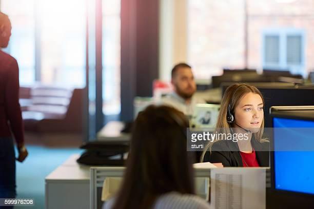 young female call centre operative