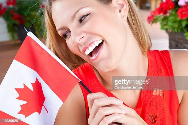Young female celebrating Canada's Day