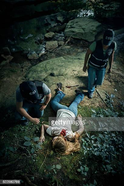 csi young female dead on trail - dead girl stock pictures, royalty-free photos & images