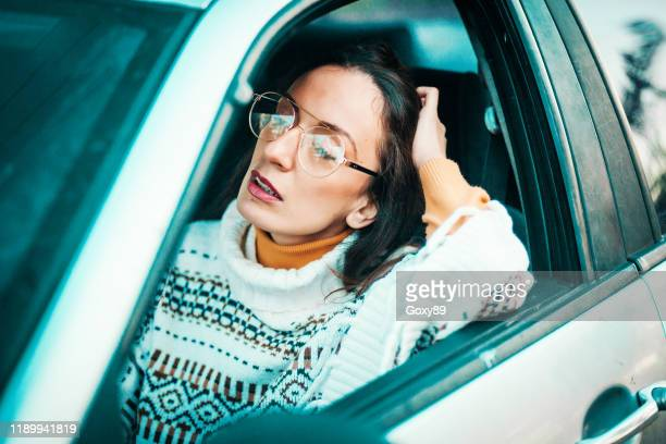 young female driver has stress and anger - fury stock pictures, royalty-free photos & images