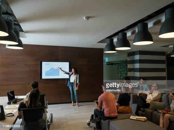 jeune entrepreneur féminin restant et donnant la présentation - affaires finance et industrie photos et images de collection