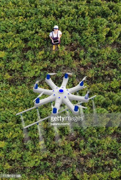 young female farmer spraying her crops using a drone - drone point of view stock pictures, royalty-free photos & images