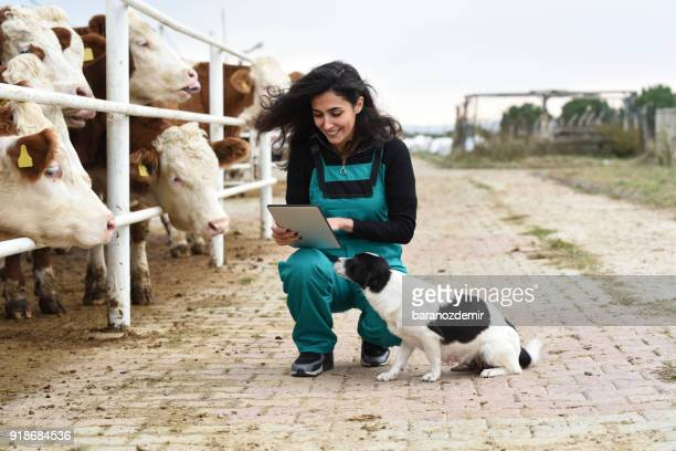 Young female farmer with cows and her dog