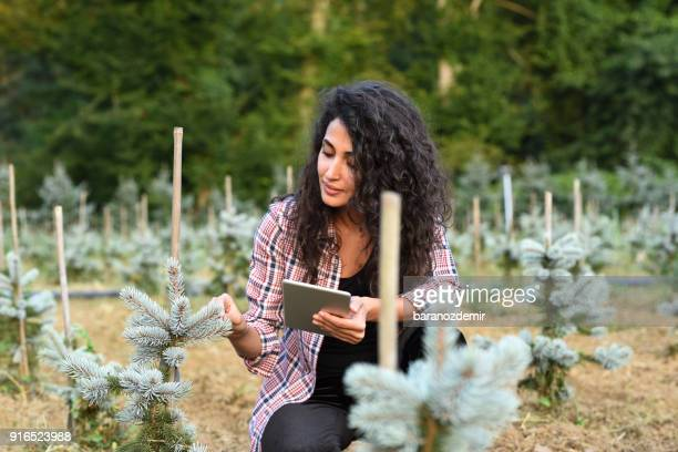 Young female gardener with digital tablet
