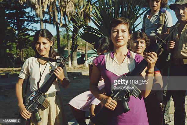 Young female guerrilla fighters of the FMLN in El Salvador during the Salvadoran Civil War 1985