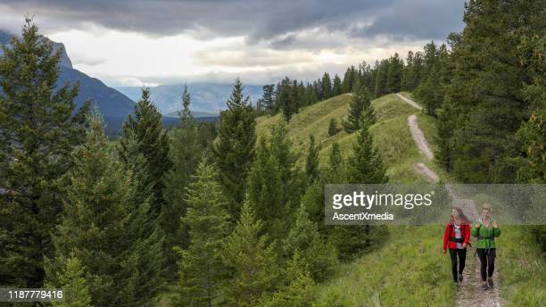 young female hikers walk along forested footpath - ascent xmedia stock pictures, royalty-free photos & images
