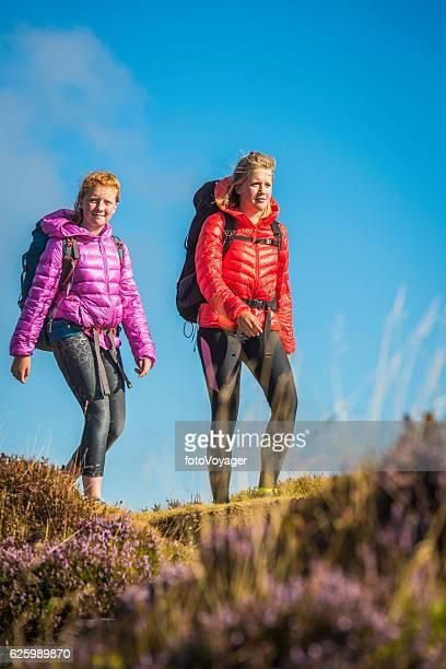 Young female hikers walking along idyllic summer heather mountain ridge