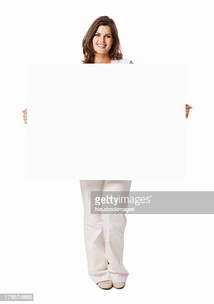 Young Female Holding a White Blank Sign - Isolated