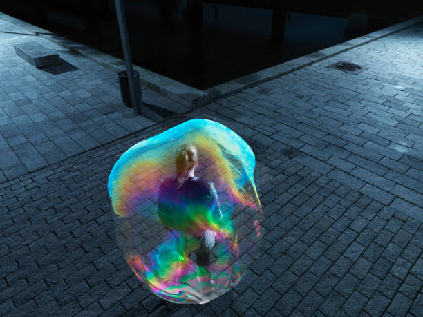 young female in soapbubble