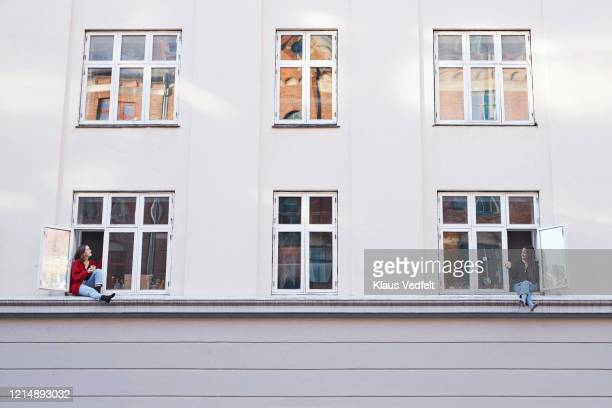 young female neighbors talking from apartment windows - denmark stock pictures, royalty-free photos & images