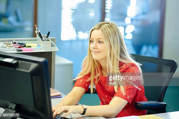 young female office worker or intern - secretary stock photos and pictures