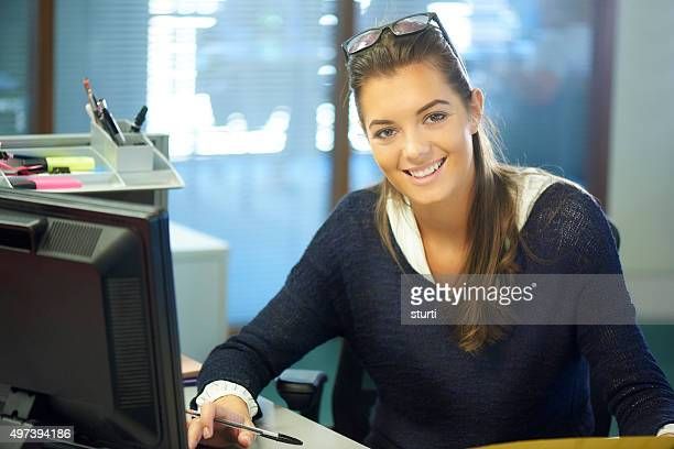 young female office worker or intern