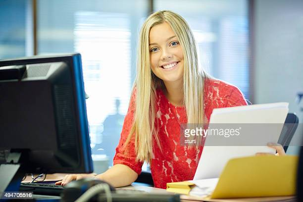 young female office worker - secretary stock photos and pictures