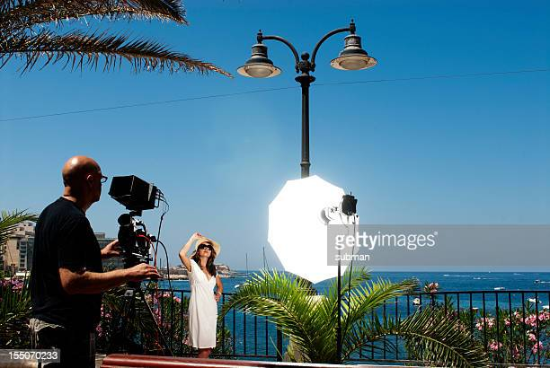 young female on movie set - film set stock pictures, royalty-free photos & images