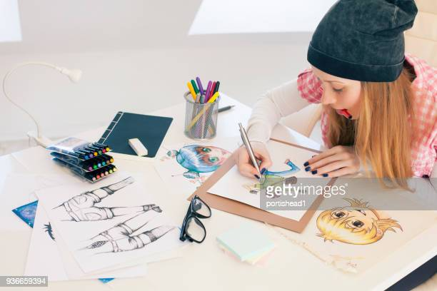 young female painter - anime stock photos and pictures