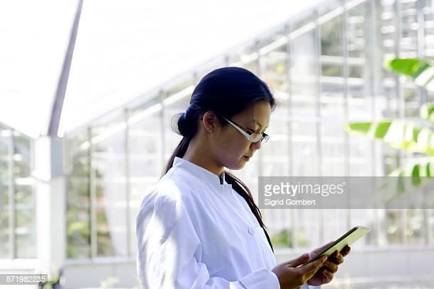 young female scientist reading digital tablet in lab greenhouse - sigrid gombert stock-fotos und bilder
