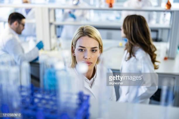 giovane scienziata che prende la provetta in laboratorio. - scienziata foto e immagini stock