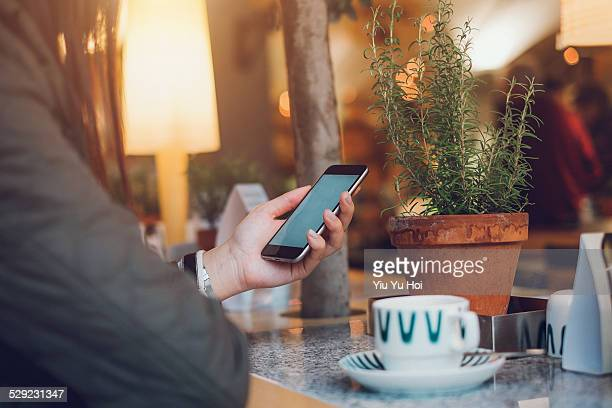 Young female sitting in cafe using her smartphone