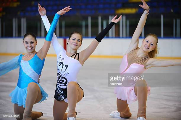 Young female skaters posing