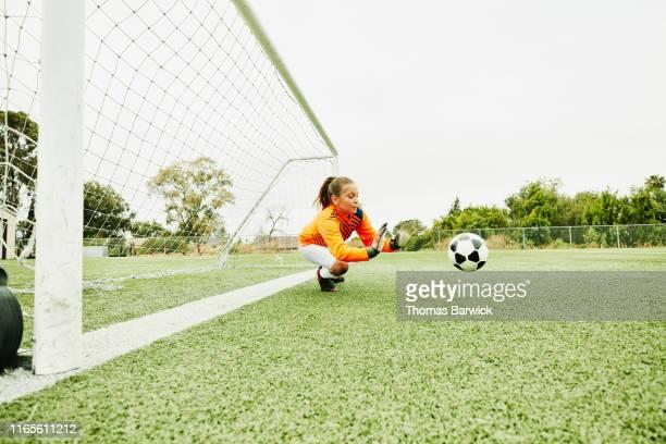 young female soccer goalie diving to stop shot - portero atleta fotografías e imágenes de stock