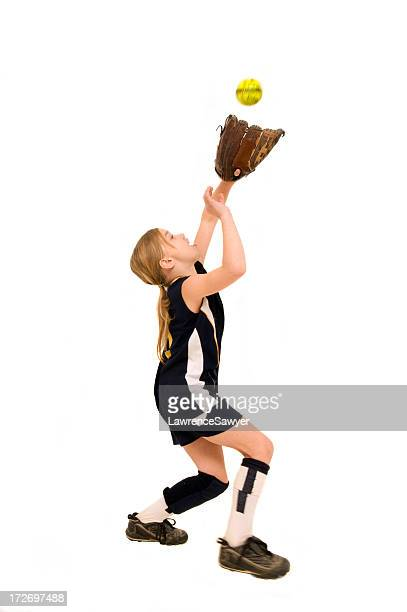 young female softball player - softball sport stock pictures, royalty-free photos & images