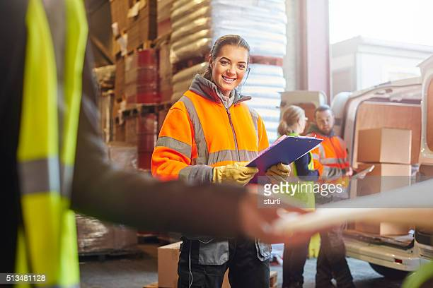 young female warehouse worker portrait