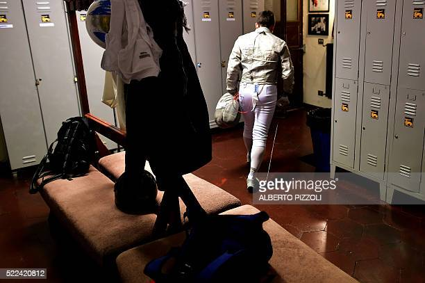 A young fencer leaves the locker room to take part in a training session at the Musumeci Greco Academy on April 18 2016 in Rome The Academy of Arms...