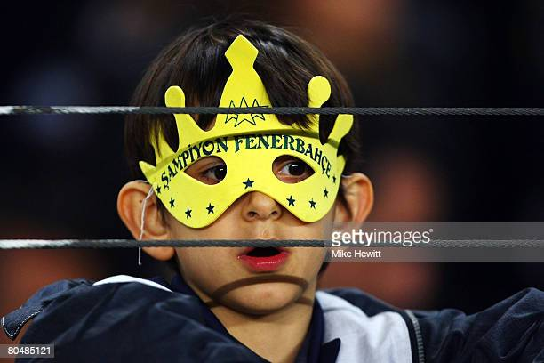 Young Fenerbahce fan looks on prior to the UEFA Champions League Quarter Final 1st Leg match between Fenerbache and Chelsea at the Sukru Saracoglu...