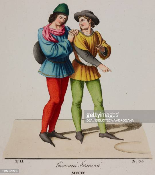 Young fifteenth-century French men wearing hats and pointy shoes, illustration from Historical Costumes from the 13th-15th Centuries by Camillo...