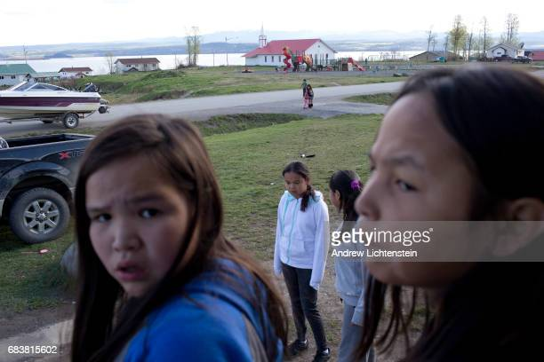 Young First Nation girls play in the streets on April 25 2016 in the small community of Taiche British Columbia Three years after 26 year old Mackie...