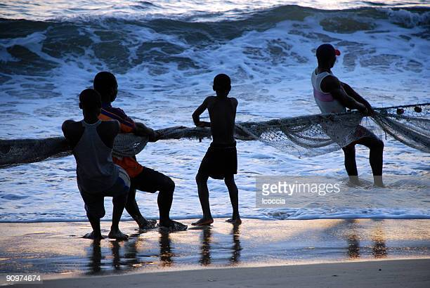 young fisherman pulling in a trawl - sierra leone stock pictures, royalty-free photos & images