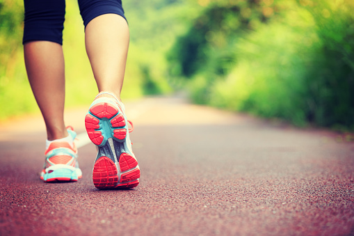 Young fitness female runner legs ready for run on forest trail 906730884