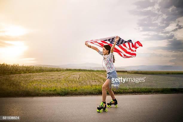 Young Flag Skater girl