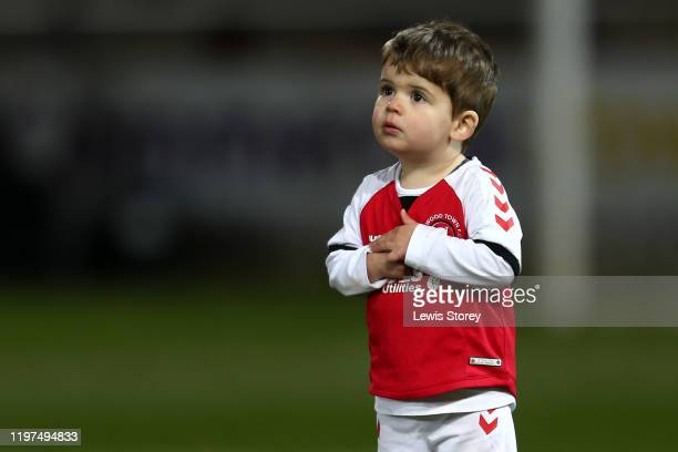 A young Fleetwood Town mascot looks on prior to the FA Cup Third Round match between Fleetwood Town and Portsmouth FC at Highbury Stadium on January...