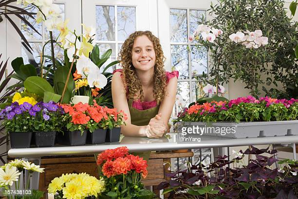 Young Florist Small Business Owner in Flower Shop Retail Store