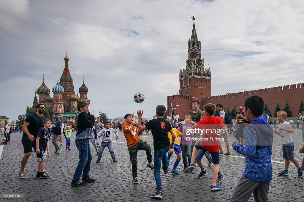 Football Fans arrive in Moscow For The world Cup Semi Finals : News Photo