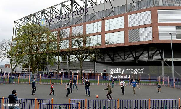 Young football fans playing fiveaside before the Premier League match between Aston Villa and Fulham at Villa Park on April 5 2014 in Birmingham...