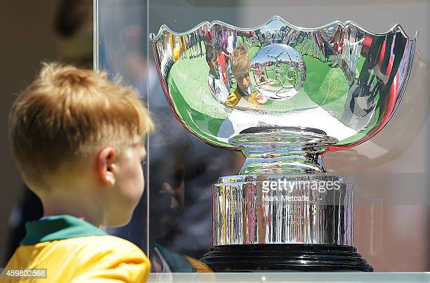 A young footballer in a Socceroos jersey looks at the Asian Cup trophy during the Fox Sports Asian Cup coverage launch at Bondi Beach on December 2...