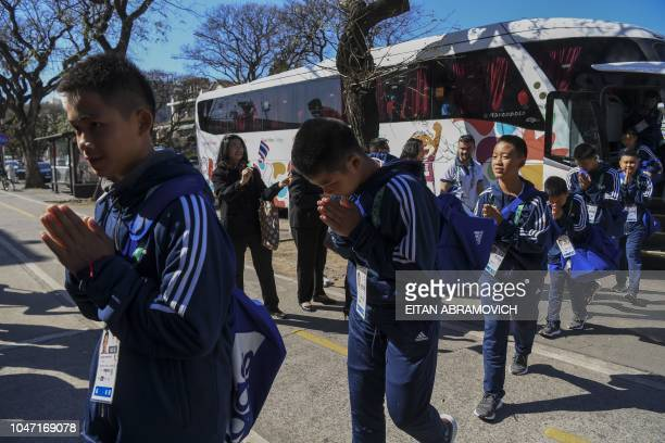 Young footballers of Thai team Wild Boars who were rescued from the Tham Luang cave in Thailand past July arrive to River Plate's Monumental stadium...