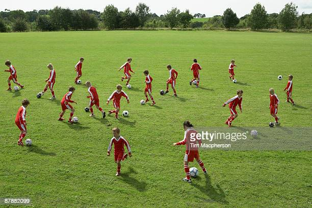 Young footballers training