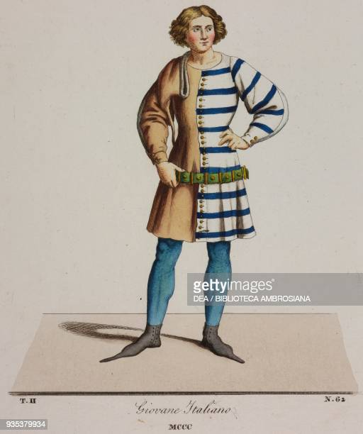 Young fourteenth century Italian man wearing a tunic one side tan brown and the other striped illustration from Historical Costumes from the 13th15th...