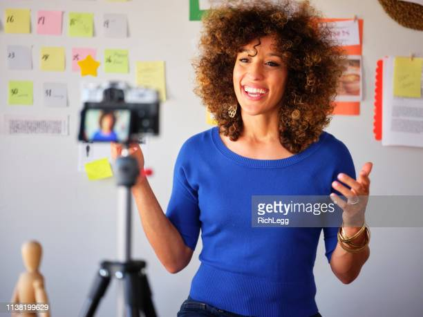 young freelancer video blogging - vlogging stock photos and pictures